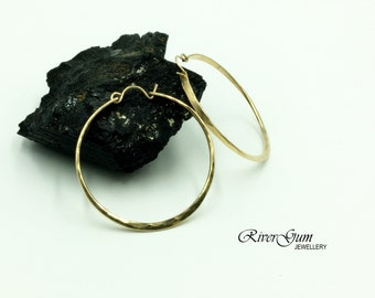 Large Gold Hoop Earrings, Two Inch Hoop Earrings, 12 Gauge Gold Filled Wire, Large Hoop Earrings, Hammered Hoops