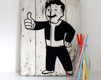 Vault Boy Wall Art - FallOut Painting - Gamesroom Decor - Gift for Gamers - Man Cave Decor - Christmas Gift - Reclaimed Wood - Pallet Wood