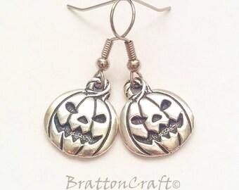 Silver Pumpkin Earrings - Fun Halloween Earrings - Jack O'Lantern Earrings - Fun Halloween Jewelry - Pumpkin Jewelry - Pumpkin Earrings