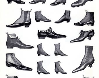 Vintage French Print - BOOTS and SHOES- Black & White Magasins De Nouveautes Plate Turn of the Century Foot Wear