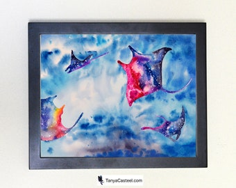 Manta Ray Spirit Animal Galaxy Watercolor Art Print 8x10