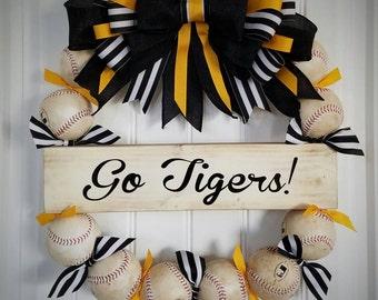 Baseball Wreath with burlap bow and custom sign - REAL baseballs! Softball and Baseball -Coach's Gifts - MLB - Baseball -Front Door Wreath
