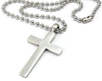 Men's Cross Necklace, Simple Cross Pendant with Stainless Steel Chain - Christian Jewelry