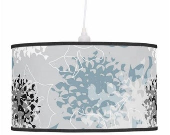 Hanging pendant drum lamp shade with table lamp stand option, powder blue chrysanthemum, floral surface pattern design for interior lighting