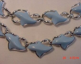 Vintage Coro Blue Thermo Nuclear Adjustable Necklace & Bracelet Set  16 - 317