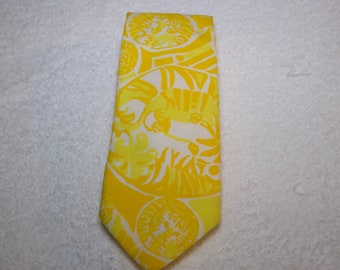 Vintage Lilly Pulitzer Cotton Blend Lion Slim Tie