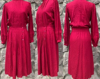 """Vintage 80s Argenti """"Poor Girl's Gucci"""" Red Silk Midi Wrap Dress / Pleated Bodice / Long Sleeves / Made in Hong Kong / Women's Size 4 Small"""