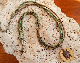Santa Fe Turtle Multistrand Seed Bead Necklace