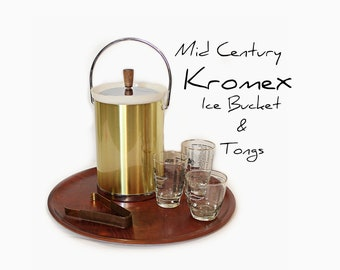 Mid Century Ice Bucket - 1960s Barware - Kromex - Gold - Vintage Bar - Cocktail Service - Ice Tongs