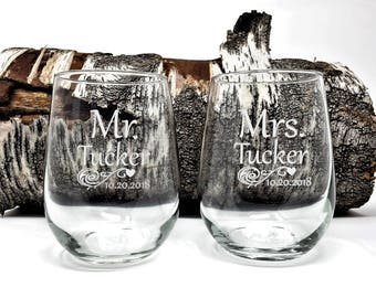 Personalized Stemless Wine Glasses Engraved Mr. and Mrs. Last Name and Date 17 oz. Wedding Toasting Glasses