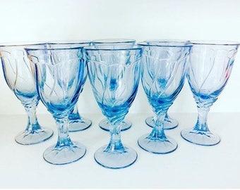 Set of 8 light blue goblets