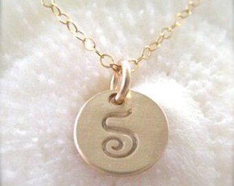 """Gold Initial Charm Necklace - """"Petite Initial in Script"""""""