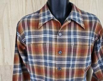 Men's Donegal/ Vintage Plaid Brushed Cotton Oxford Shirt/ c. 1960s/ Men's Size L/ Ivy style shirt