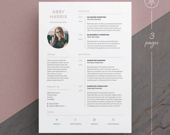 Abby Resume/CV Template | Word | Photoshop | InDesign | Professional Resume  Design |