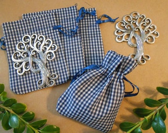10 Blue drawstring bags Fabric bags Jewelry bags Cloth bags Blue Gingham Checked Cotton Favor bags Jewelry pouches Jewelry Storage Packaging