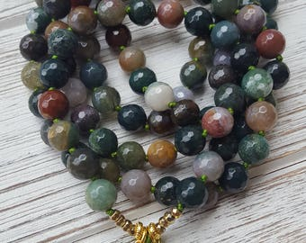 Peridot & Indian Agate Ganesha Mala Beads 108 Ganesh Mala | 108 Bead Mala Necklace | Ganesha Mala Beads 108 Mala Beads Ganesh Mala Necklace