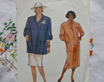 1980s Vintage maternity pattern, Vogue 9506, Maternity dress, shirt and skirt, 1986, size  14 to 18, UNCUT