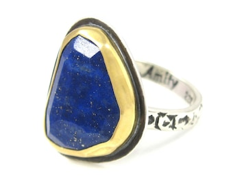 Lapis Lazuli Ring - Sterling Silver and 22K gold faceted lapis ring - US size 6.75 - lapis lazuli mixed metal ring - boholuxe lapis ring