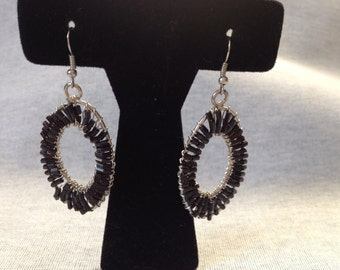 Vintage Costume Silvertone with Small Black Beaded Design Dangle Earrings