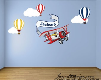 Boys Airplane and Hot Air Balloons Bedroom Wall Decals,Removable and Reusable Fabric Wall Decals, Personalized Airplane Banner