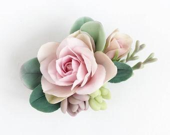 Pink rose hair barrette blush flower hair piece succulent hair clip mint and blush wedding succulent hair piece pink flower headpiece brides