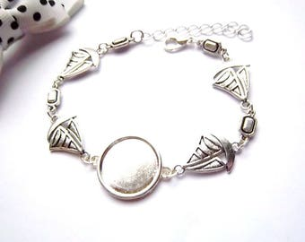 x silver ring 18 mm, small boat and rectangle bracelet holder