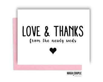 Thank You Card, Love & Thanks, Wedding Day Card