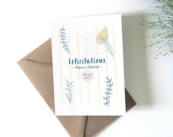 Card customizable wedding congratulations greeting card illustration, wedding stationery, vegetable card, flowers, personalized gift