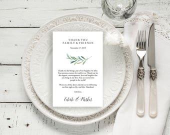 "Wedding Thank You Card, Rustic Wedding, Thank You Printable, Wedding Calligraphy, Wedding Table Thank You, Watercolor  4x6""   No. EDN 5491"