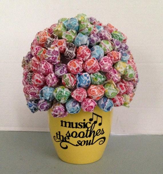 Dum Dum Lollipop Candy Bouquet with Vinyl Wording Table