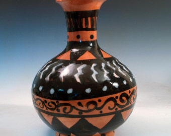 Terra Cotta Vase in Lightning Bolt Pattern