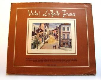 Paris Prints, Set of 4 Vintage 1953 France Paris Prints by  J. Anthony Buzzelli, France Art Paintings 1950s