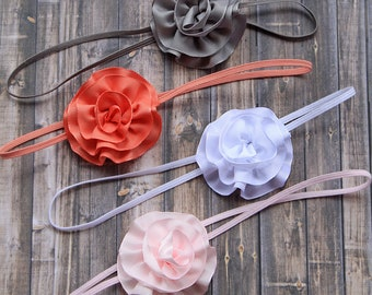 Ruffled Rosette Baby Girl Headbands - Newborn Hair Bows in Gray, Coral, White & Pink