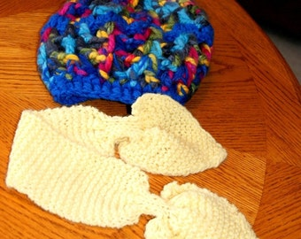 Handmade Yellow Heart Scarflette, Hand Knit Neckwarmer / Cowl / Skinny Ear Warmer / Pass Through Headdband