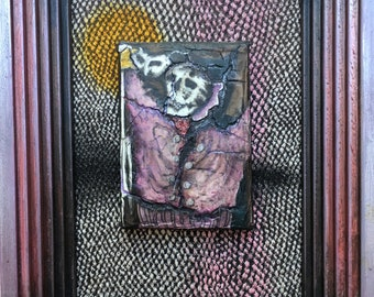 """Masquerade: Original Mixed Media Painting by Tazz. 8.75"""" X 6.75."""" Framed by the Artist. Outsider Art. Stand or Hang."""