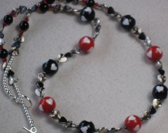 "NEW Heart Necklace 30"" Long, Valentine's Day, Red, Black, Hearts, Hematite, Silver-Plated, Sweetheart, Love"