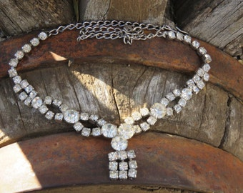 Vintage Crystal Rhinestone Choker Necklace, Costume Jewelry, Black Tie Affair, Wedding, Bridal, Mother of The Bride, Prom Wear
