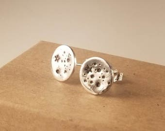 Sterling Silver Full Moon Stud Earrings