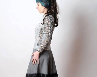 Grey skirt with black ruffles, Short gray checkered skirt, Womens grey plaid skirt, Womens skirts, Womens clothing, MALAM, Sz UK12
