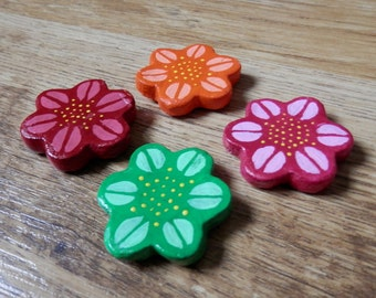 Hand Painted Clay Flower Magnets