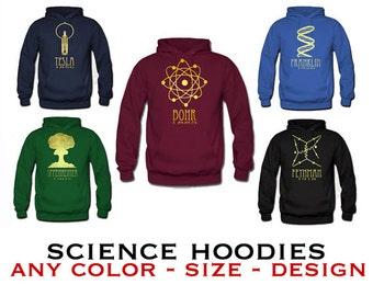 Science Hoodie Sweatshirt.  Rock Star Scientist Sweater, Geeky STEM Shirt, Hooded Pullover Sweat Shirt, Science Geek Gift, Winter Clothing