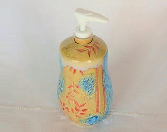 Pump Soap Dispenser, Hand Thrown Stoneware Pottery, Lotion Dispenser, Lace Textured, Blue, Red, Beige