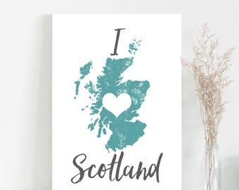 Map of Scotland print - Scottish wall art map poster mapping art print - Scotland map art typography mapping poster