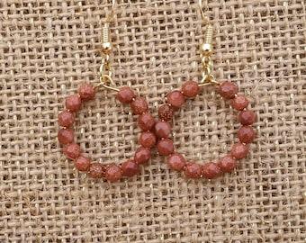 Red Goldstone Beaded Hoop Earrings