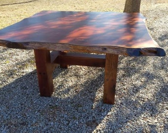 Rustic Table, Live Edge Table, Cedar Table, Dining Table, Trestle Style Table, Breakfast Nook