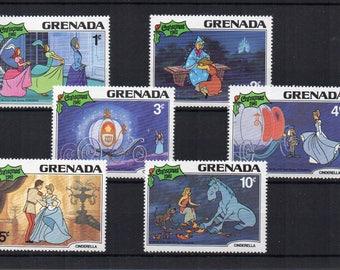 Disney Cinderella postage stamps Christmas 1981  Prince Charming Craft supply, invites, altered art, framing. Unused mint scan enlarged