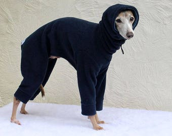 Made to order Italian Greyhound Clothing Snowsuit / Jammies with Classic Stripe jersey lined Snood/Neck Warmer - in a choice of colours
