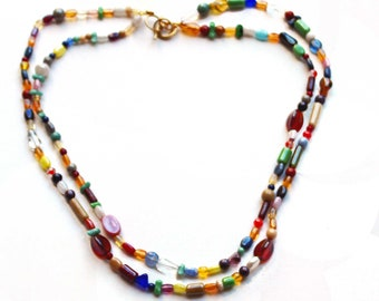 Two strand Beaded Necklace features multi shape, multi color beads, Boho necklace with adjustable clasp, gift for her, all season accessory