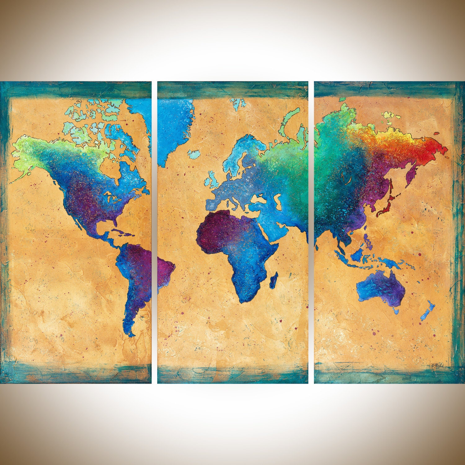 Map painting Vintage world Map set of 3 wall art hand painted