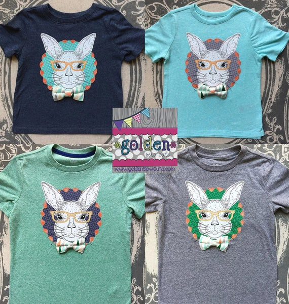 Easter Bunny with Bow Tie, Glasses, Whiskers!  Applique Easter or Spring Tee, Shirt, TShirt